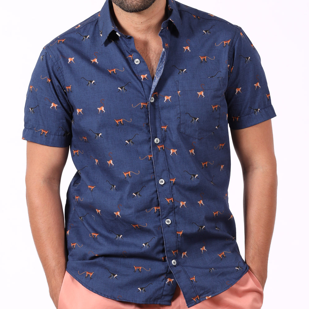 Royal Blue Monkey Print Short Sleeve Shirt - Manny Sizes S & L Available