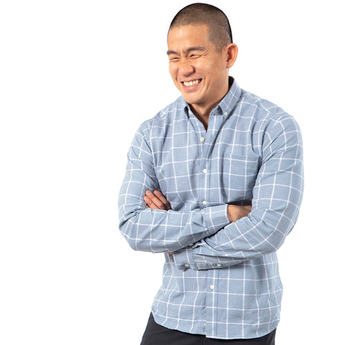 Linen/Cotton Blue & White Windowpane Check Shirt -  'Nelson' Sizes M, L & XXL Available