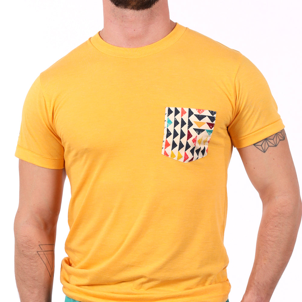 Gold with Southwest Triangles Print Pocket Tee