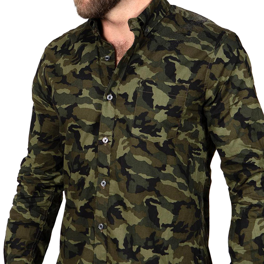 Olive Camouflage Print Shirt