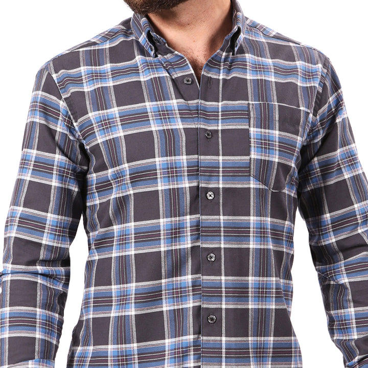 Charcoal Grey & Blue Plaid Shirt