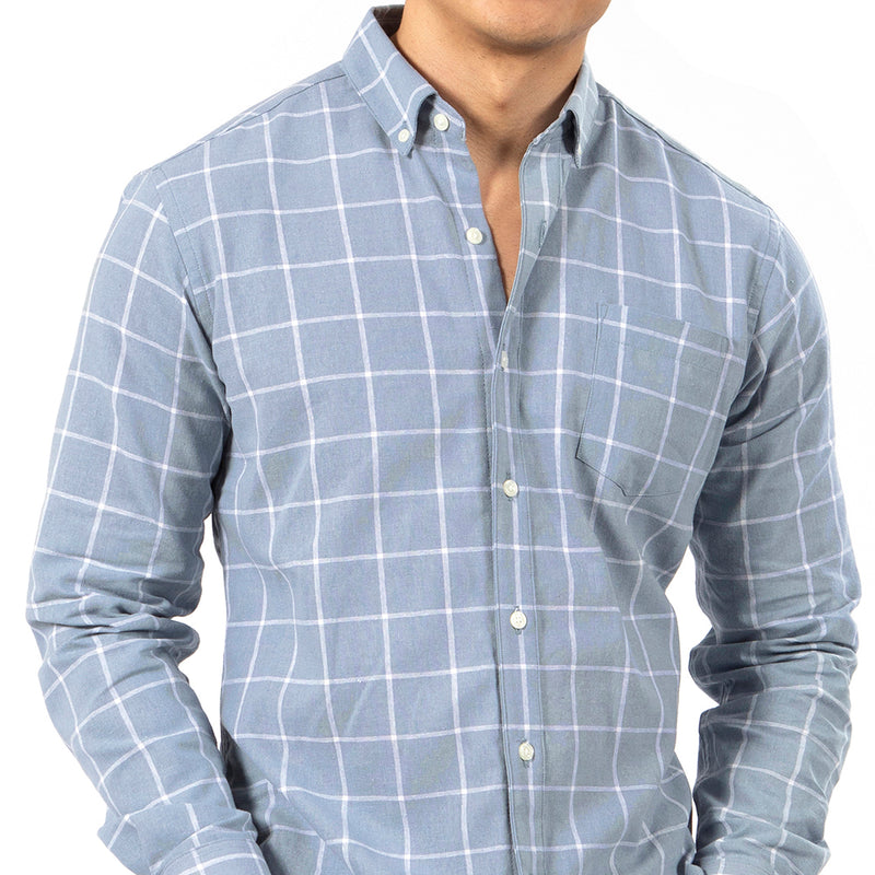 Linen/Cotton Blue & White Windowpane Check Shirt -  'Nelson' Sizes M & L Available