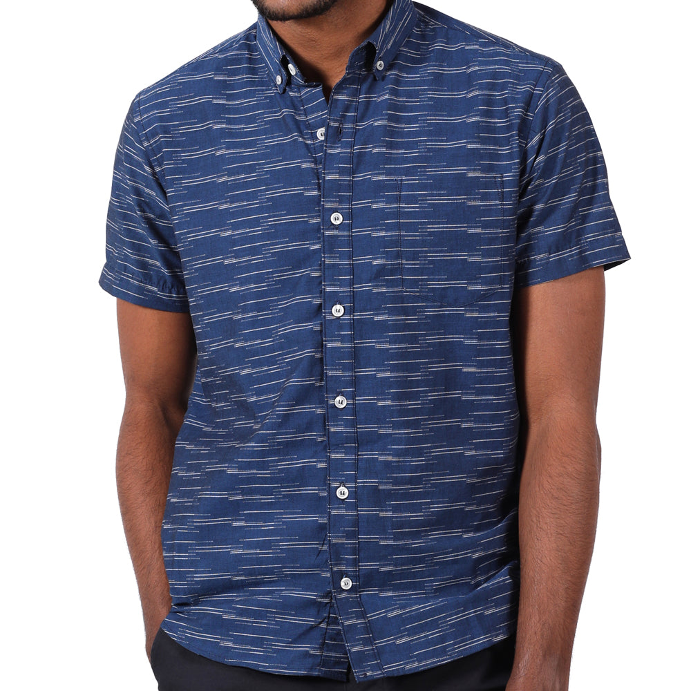 Navy Blue with White Jacquard Pattern Short Sleeve Shirt - Spiro Size L Available