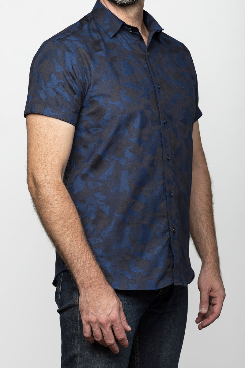 Blue & Black Camouflage Print Shirt - NOVA  Size S Available