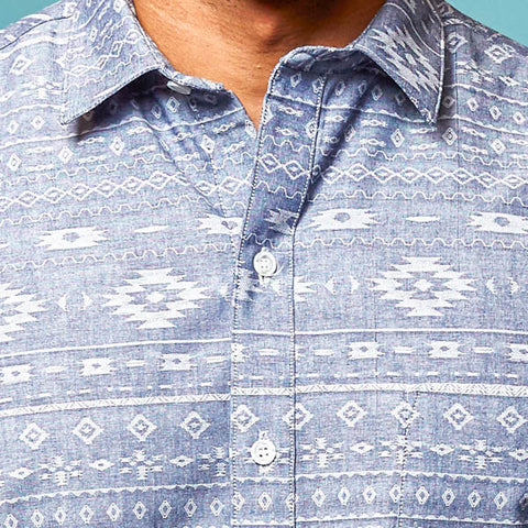 Southwest Print Chambray Short Sleeve Shirt - 'Go West'