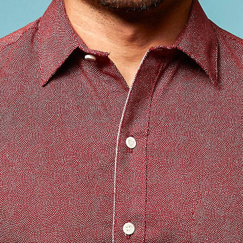 Red Japanese Wave Print Short Sleeve Shirt - Zach