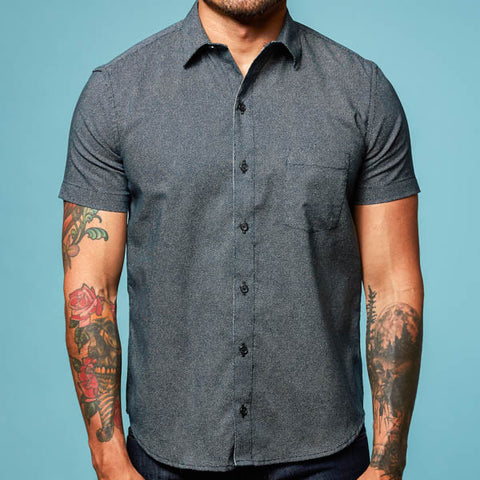 Navy Blue Japanese Wave Print Short Sleeve Shirt - Ziggy