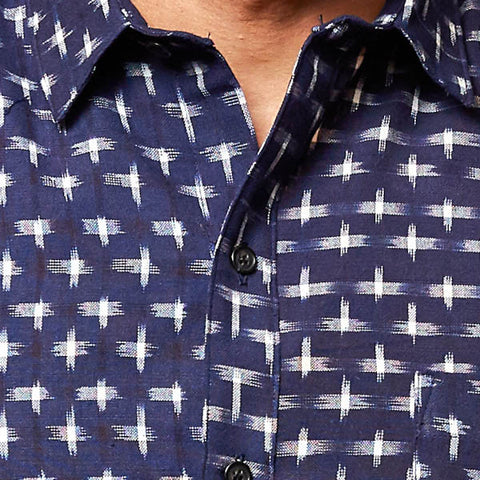 Navy with White Ikat Short Sleeve Shirt - Gabriel
