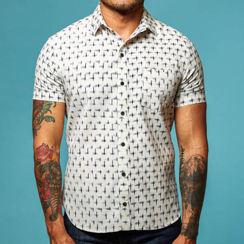 Off White with Navy Ikat Short Sleeve Shirt - Miguel