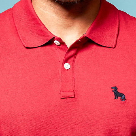 Red Cotton Pique Polo Shirt