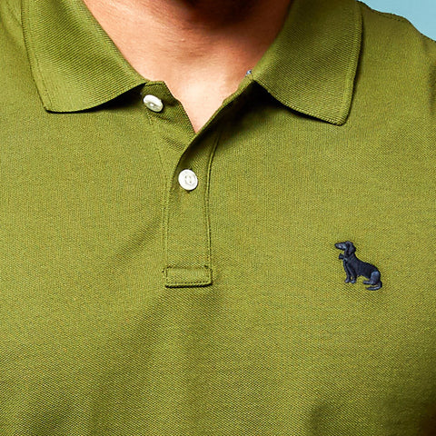 Green Cotton Pique Polo Shirt