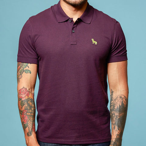 Purple Cotton Pique Polo Shirt