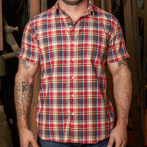 Red, Navy & Cream Plaid Short Sleeve Shirt - Jules