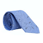 Blue Chambray Paper Planes Print Tie