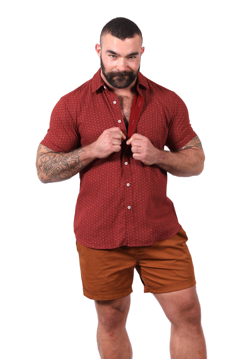 Red Geometric Floral Print Short Sleeve Shirt - Becker