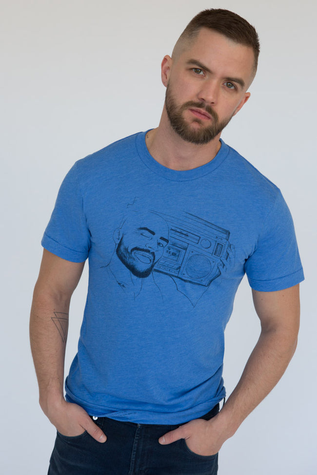Illustrated BoomBox Light Blue Tee