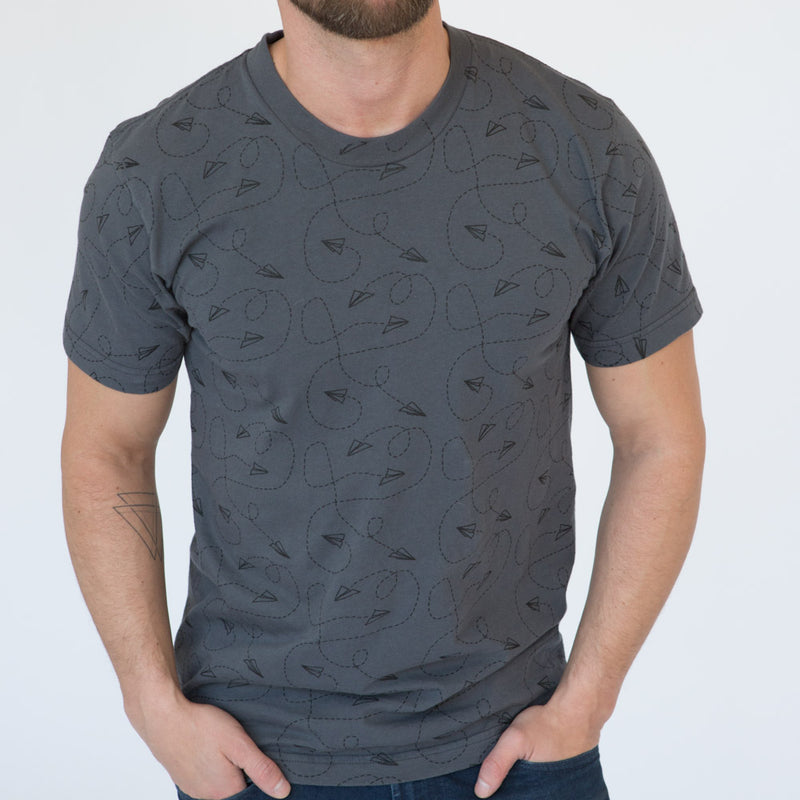 Grey Paper Planes Doodle All Over Print Tee