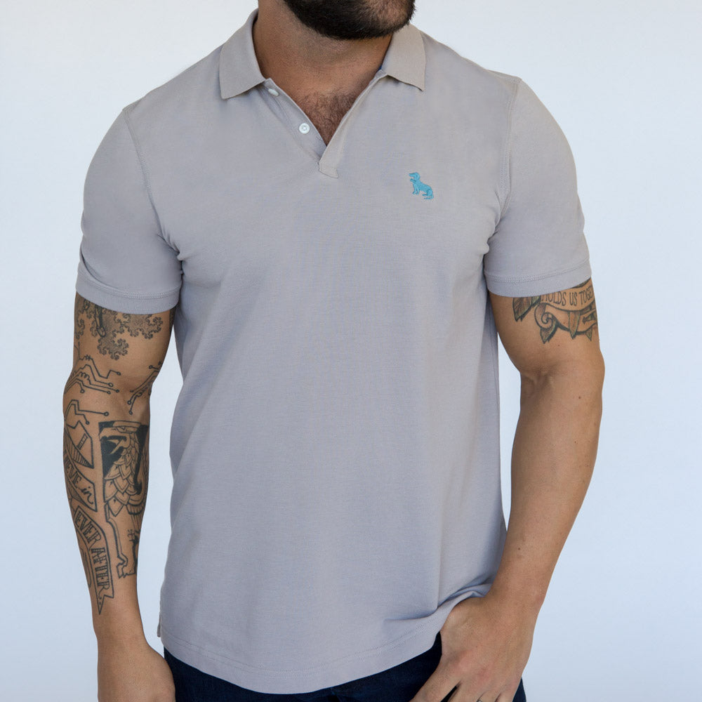 Light Grey Cotton Pique Polo