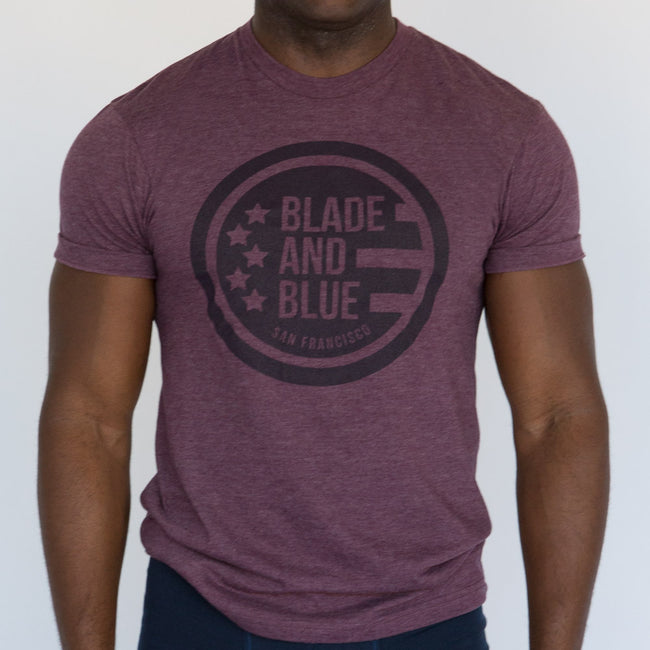 Purple Heather Blade + Blue Crest Tee