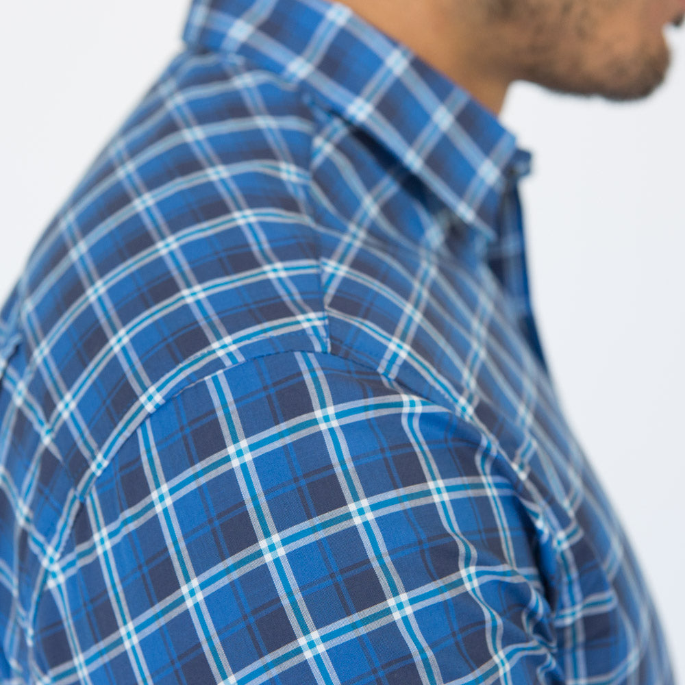 Tonal Blue & White Mini Plaid Shirt - Wilson