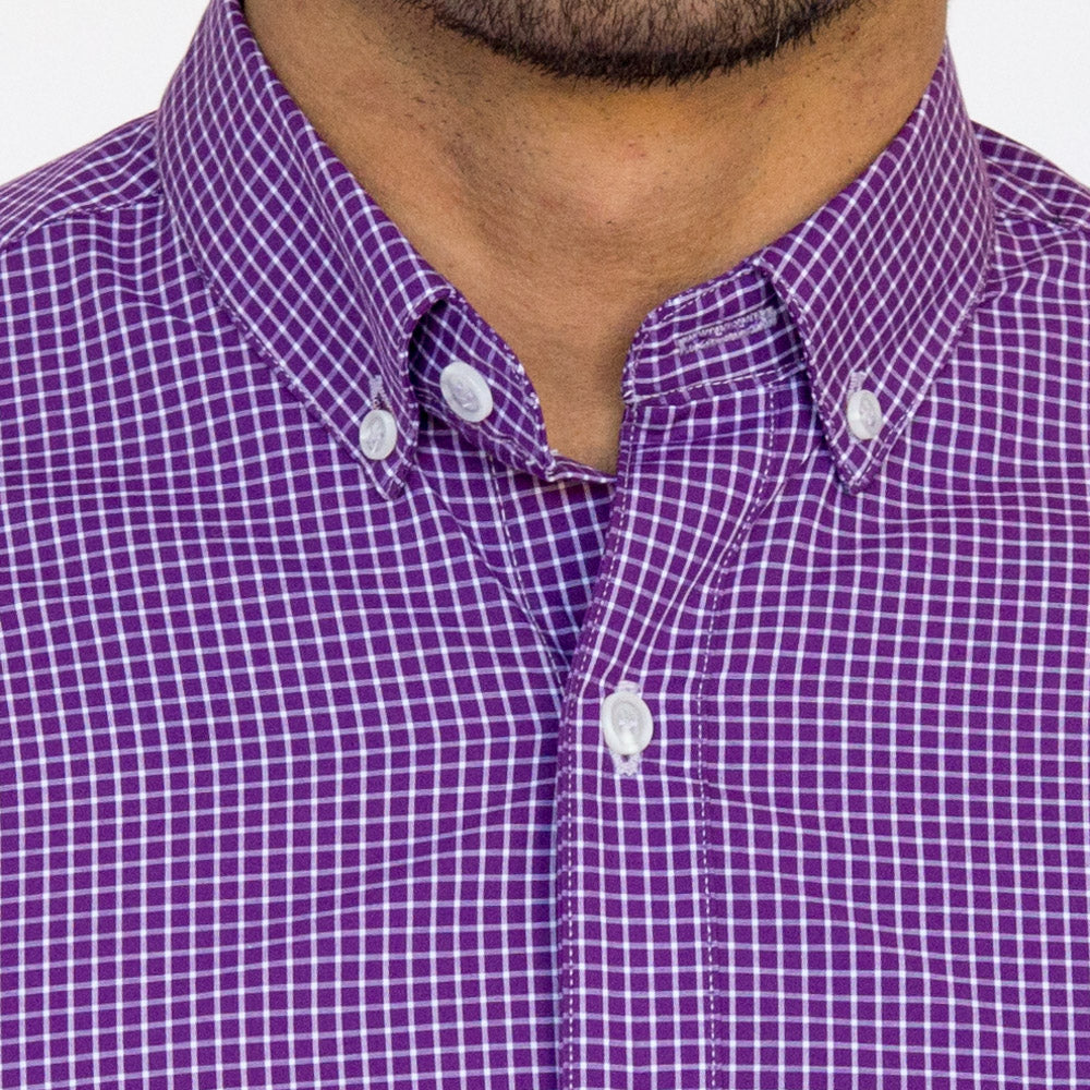 Purple & White Grid Check Shirt - Jesse