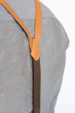 Tan Leather Skinny Suspenders with Metal Hook Closure