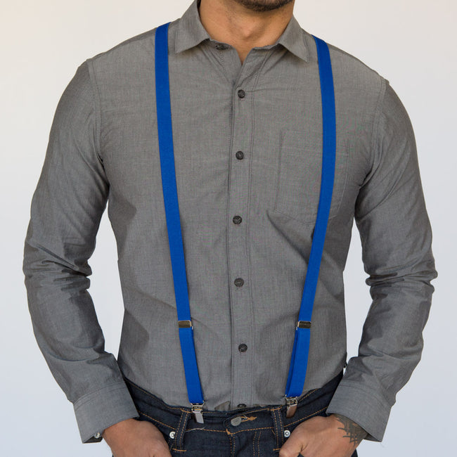 Royal Blue Elastic Skinny Suspenders