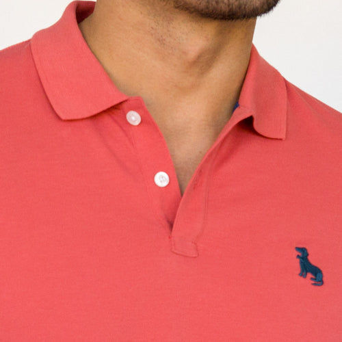 Coral Red Cotton Pique Polo - One Piece Size XL Just Found!