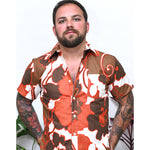 Orange-Red Tropical Floral Print Shirt - Gilbert