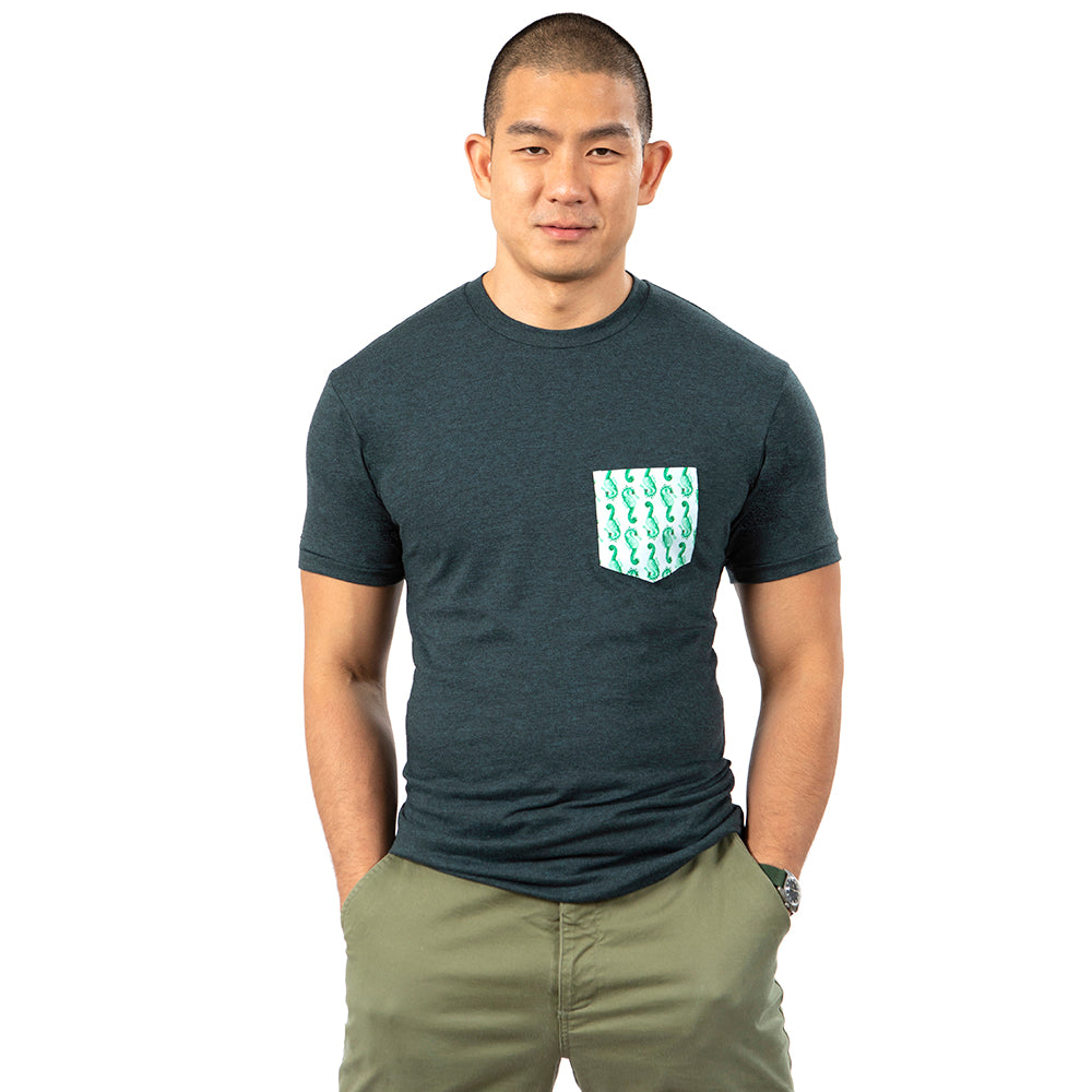 Aqua & Black Marl with Seahorse Print Pocket Tee