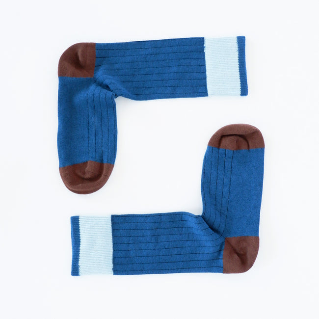 Solid Cobalt Blue with Chocolate Tipping Socks