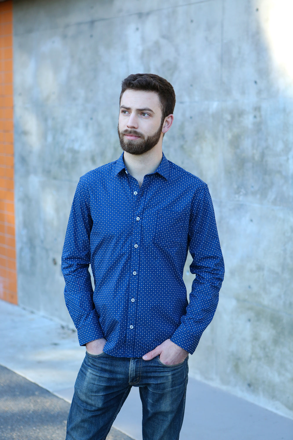 Navy Blue Circle Print Shirt - Lucas