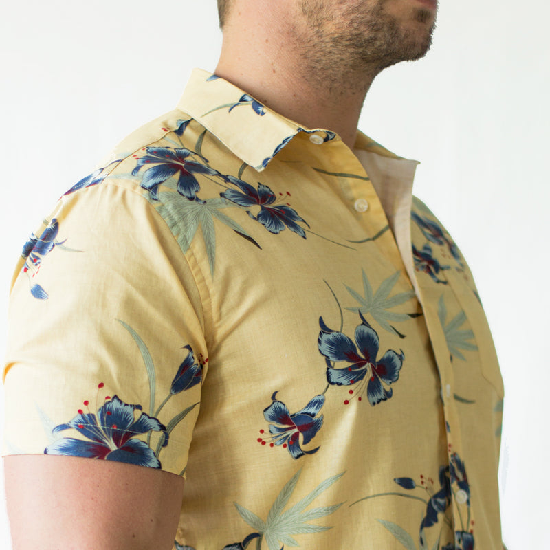 Golden Yellow Painted Floral Short Sleeve Shirt - Stanley