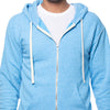 Sky Blue Heather Full Zip Hooded Fleece Sweatshirt - Made in USA