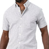 Linen/Cotton White & Steel Even Stripe Shirt - Paul One Piece Sizes L & XL  Available