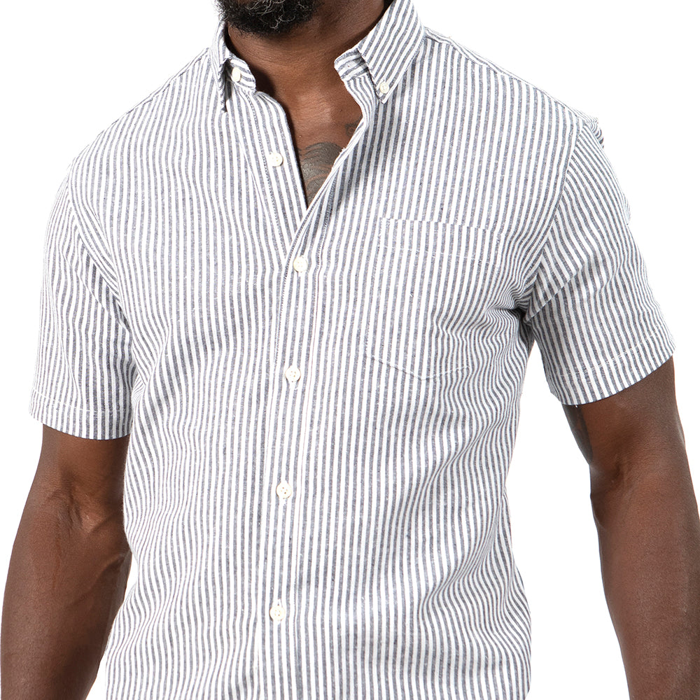 Linen/Cotton White & Steel Even Stripe Shirt - Paul