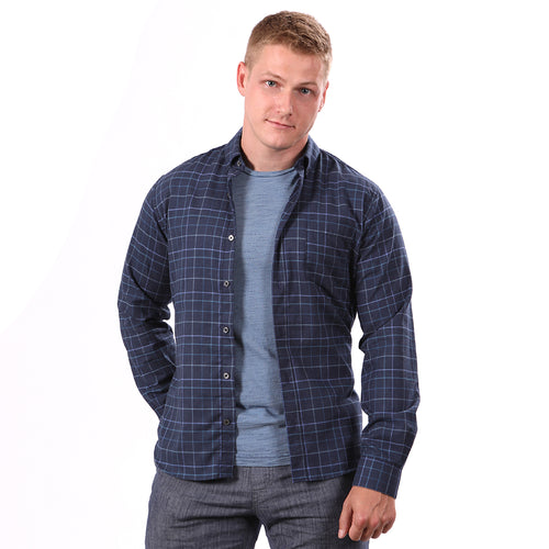 SALE THIS WEEKEND ONLY Tonal Blue Melange Plaid Brushed Cotton Shirt - 'Chief'