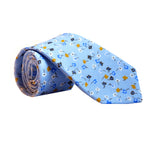 Blue & Gold Ditsy Floral Print Cotton Tie