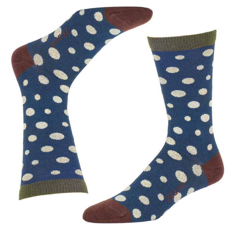 Blue Polka Dot Print Socks - Tucker