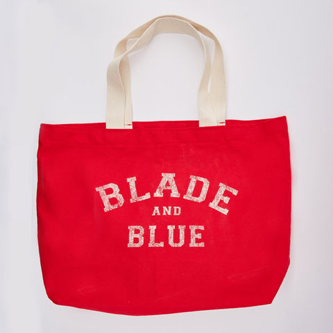 Blade+Blue Tote Bag in Red