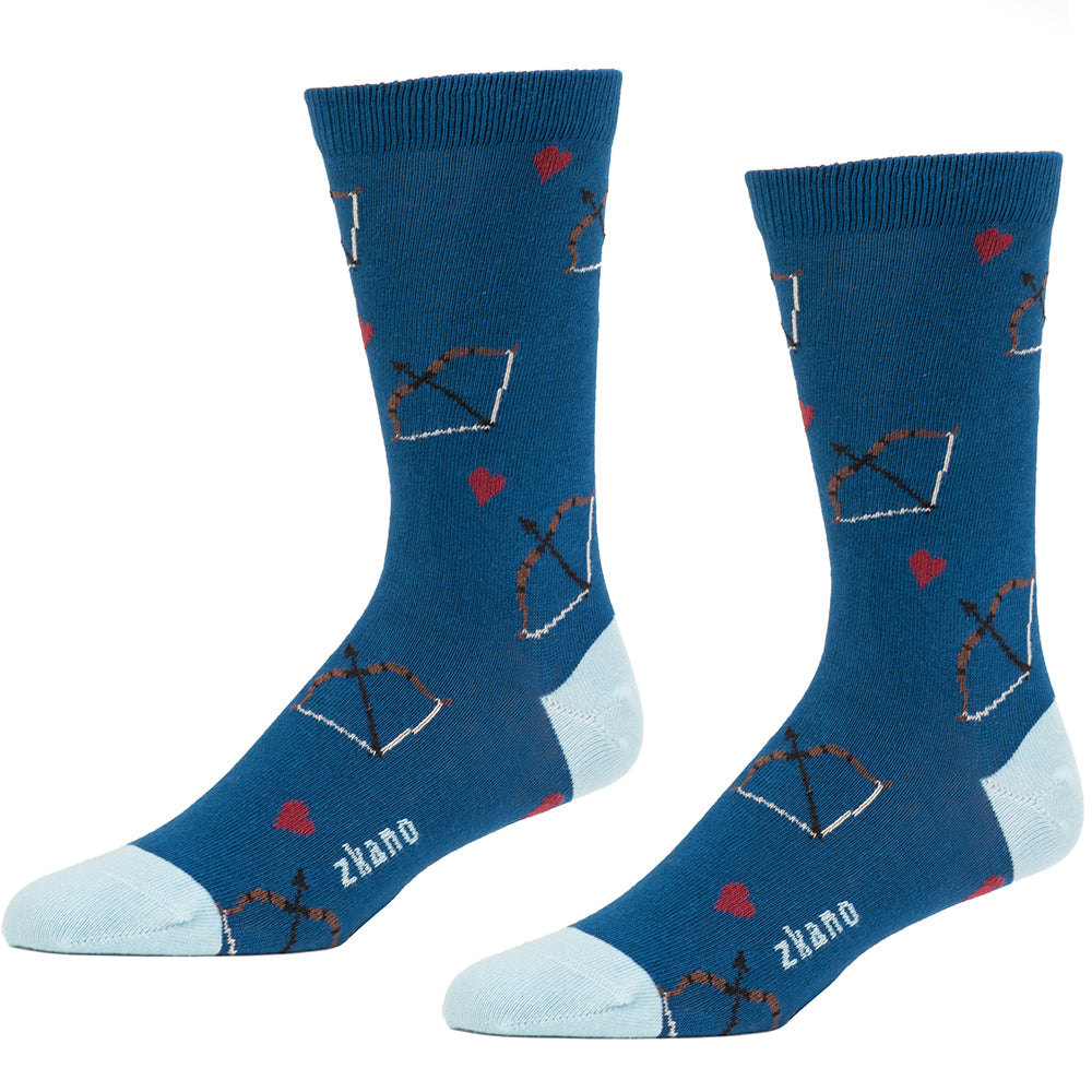 Jewel Blue Bow & Arrow Valentine's Pattern Socks