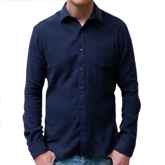 Solid Navy Blue Brushed Cotton Flannel Shirt - Vaughn  Size S Available