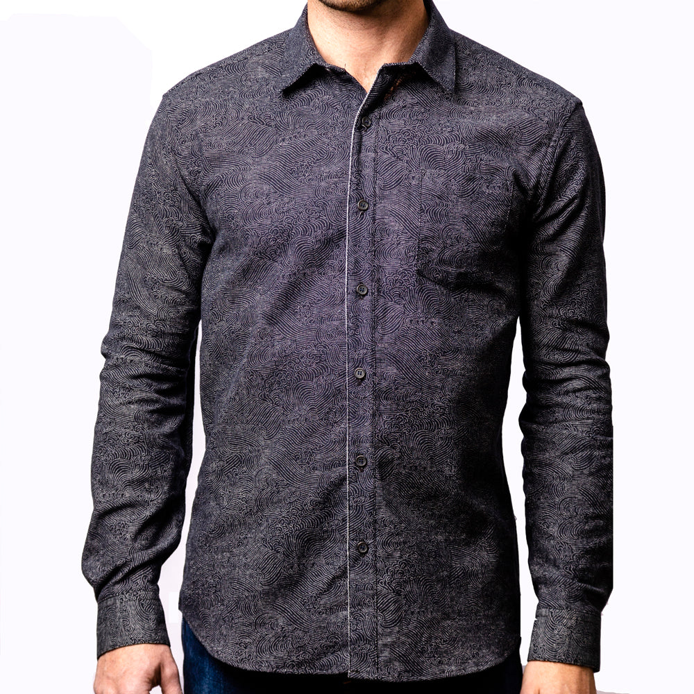 Black with Japanese Swirl Print Shirt - Zane  Sizes S and XL Available