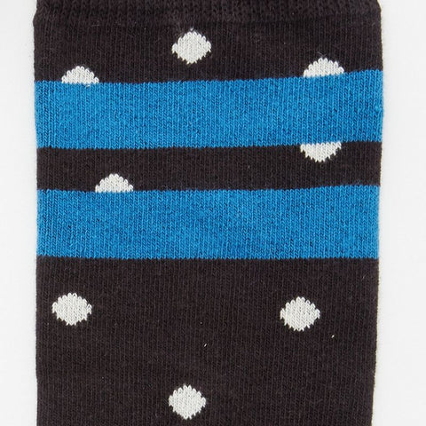 Black & White Polka Dot Stripe Socks