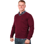 50% OFF 4 DAYS ONLY! Burgundy Wine Cotton V-Neck Sweater Size L Available