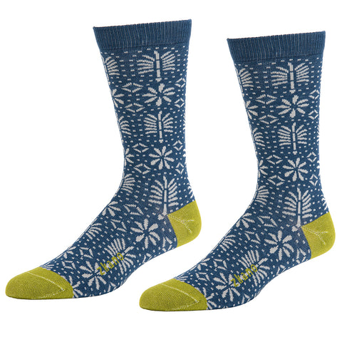 Slate Blue, Navy & Lime No-Show Ped Socks