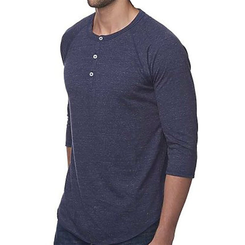 ON SALE LIMITED TIME: Navy Blue 3/4 Raglan Sleeve Tri-Blend Henley