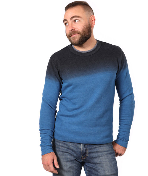 Pure Blue & Charcoal Grey Dip Dye Crewneck Sweatshirt - Made in USA