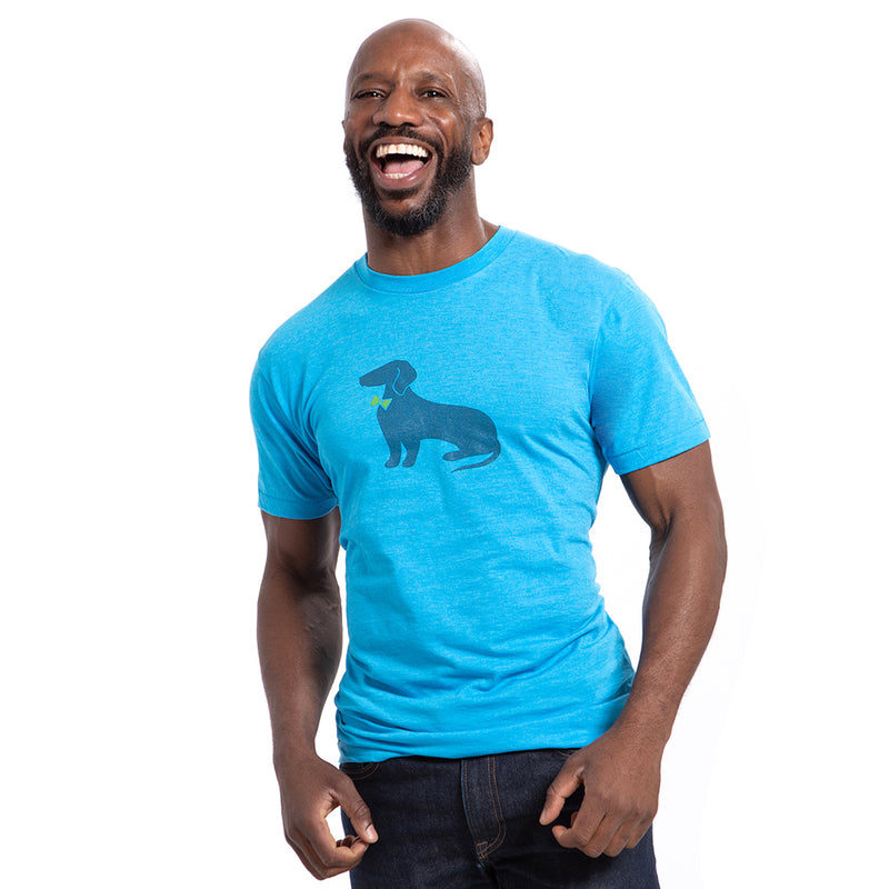Bright Aqua Blue Heather Dachshund Tee - Size S Available