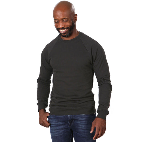 Organic Cotton Slate-Grey Raglan Sleeve Crewneck Sweatshirt - Made in USA